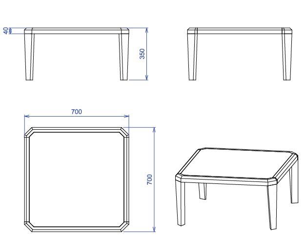 Table basse transparente carrée Gemma -> Plan Table Basse
