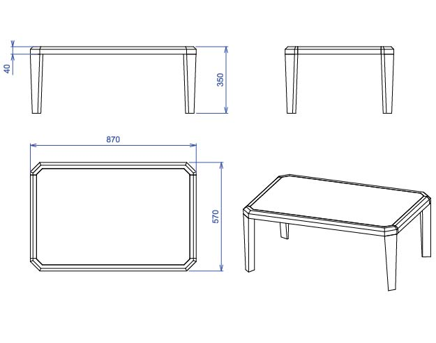 plan table basse gemma rectangle