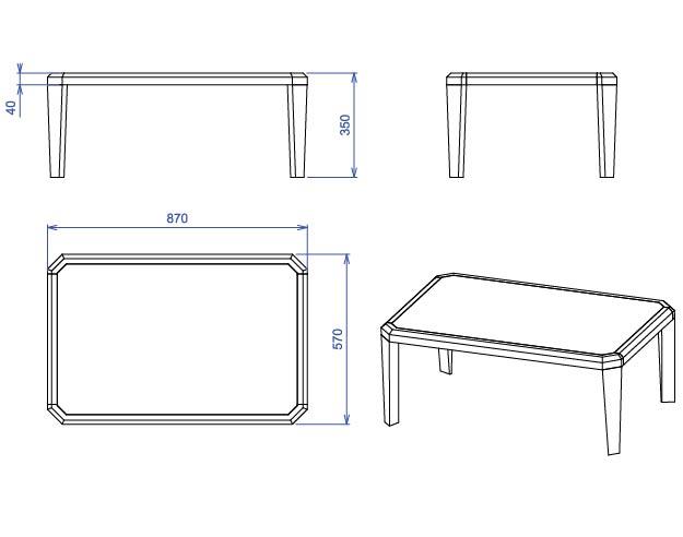 Table basse transparente rectangle Gemma -> Plan Table Basse